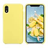 SURPHY Silicone Case for iPhone XR, Slim Liquid Silicone Soft Rubber Protective Phone Case Cover (with Soft Microfiber Lining) Compatible with iPhone XR 6.1', Yellow