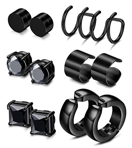 JOERICA 2-4 Pairs Stainless Steel Magnetic Stud Earrings for Men Women Non Piercing Clip on CZ Earrings (M:6 Pairs,6mm,Black)