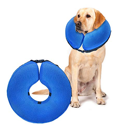 UMARDOO Protective Cone Collar Pets Soft Inflatable Post Surgery Cone Collar for Dogs and Cats with Adjustable Buckle. Blue (Large)