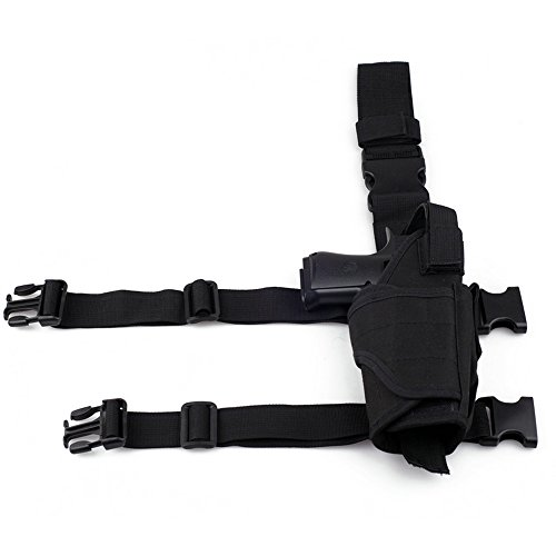 aokur Tactical Pistol Leg Holster, Adjustable Airsoft Gun Drop Thigh  Holster, Military Harness Pouch, Left and Right Handed Set, Black – The  GunGuyTV