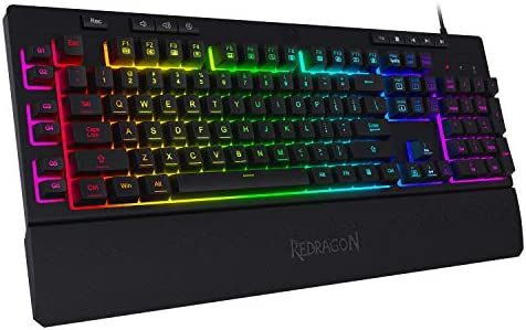 Redragon K512 Shiva RGB Backlit Membrane Gaming Keyboard with Multimedia Keys, Quiet Mechanical Feeling Keyboard, 6 Extra On-Board Macro Keys, Dedicated Media Control, Detachable Wrist Rest
