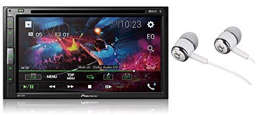 Pioneer AVH-310EX 6.8' Double DIN Touchscreen Display, Apple iPhone and Android Music Support, Bluetooth in-Dash DVD/CD AM/FM Front USB Digital Multimedia Car Stereo Receiver/Free Alphasonik Earbuds