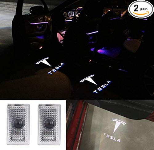 Car Door LED Logo Projector Lights for Tesla Accessory MODEL S/X Accessory Wireless Welcome Emblem Lamp Ghost Shadow Courtesy Step Lights 3D Shadow Lights Puddle lights 2 Pack