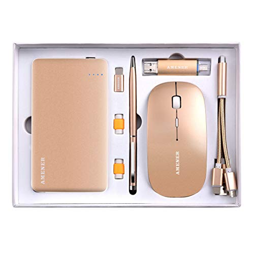 Gold Business Gift Set, AMENER Office Desk Supplies Electronic Kit, Gift to Birthday Wedding Graduation Corporation-Professional, Gift Ideas for Men Women, Best Gift for Him Her, Customized