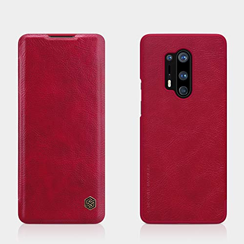 "41umaGAHGoL - Nillkin Case for OnePlus 8 Pro One Plus 8 Pro (1+8) Pro (6.78"" Inch) Qin Genuine Classic Leather Flip Folio + Card Slot Red Color"