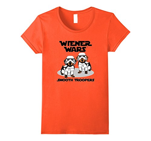 Womens Wiener Wars - Smooth Troopers Funny Dachshund T-Shirt Large Orange