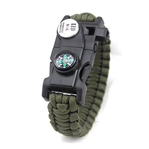 Yntmerry 20 In One Umbrella Rope Bracelet Wolf 2 The same paragraph Compass LED Light Flint Bracelet SOS Lifesaving bracelet,Army Green