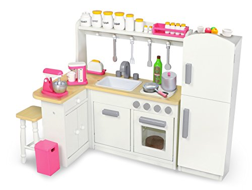 Playtime by Eimmie 18 Inch Doll Furniture Kitchen Set w/ Refrigerator and Accessories Collection