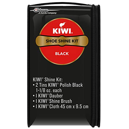 KIWI Shoe Shine Kit, Black - Gives Shoes Long-Lasting Shine and Protection (2 Tins, 1 Brush, 1 Dauber and 1 Cloth)