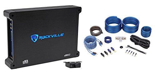 Rockville dB12 2000 Watt Peak / 500w RMS @ 2 Ohm CEA Compliant Mono Car Amplifier+Amp Kit