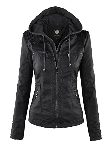 Lock and Love Women's Hooded Faux Leather Moto Biker Jacket (XS~2XL) 1 Fashion Online Shop gifts for her gifts for him womens full figure