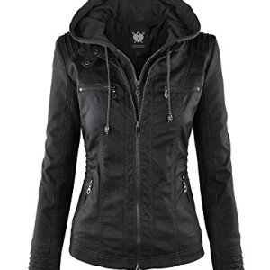 Lock and Love Women's Hooded Faux Leather Moto Biker Jacket (XS~2XL) 15 Fashion Online Shop 🆓 Gifts for her Gifts for him womens full figure