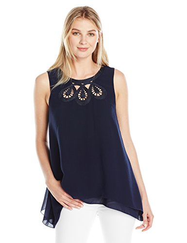 """41v2EyivEFL This double-hem top features a peekaboo bodice detailed with contrast-texture cording. Keyhole back Top length measures 25"""" from shoulder to hem."""