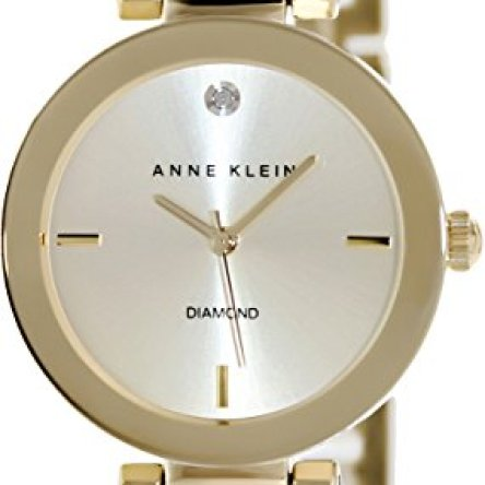 Anne Klein Women's AK/1362CHGB  Diamond Dial Gold-Tone Bracelet Watch
