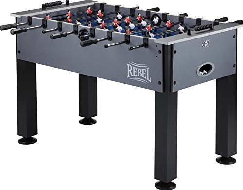 Fat Cat Rebel 4.5' Foosball Table with Easy Snap Rods for Quick Assembly, and Sharp Blue Playing...