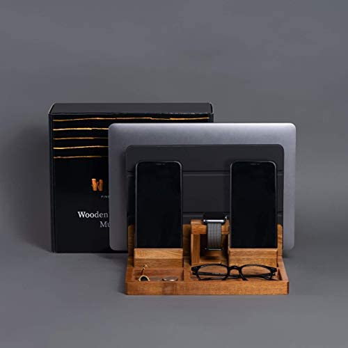 WUTCRFT - Wood Charging Station/Nightstand Organizer for Multiple Devices Including Phone, Smart Watch, Laptop, Tablet, or Electronic Accessories, Perfect as an Electronic Organizer, or Gifts for Men