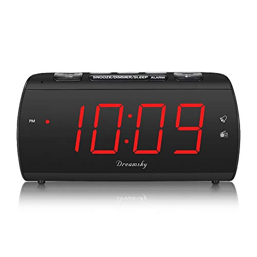 DreamSky Digital Alarm Clock Radio with USB Charging Port and FM Radios, Earphone Jack, Large 1.8' LED Display with Dimmer, Snooze, Sleep Timer, Plug in Clock for Bedroom.