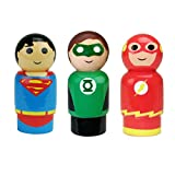 Bif Bang Pow! DC Comics Justice League Superman, The Flash, Green Lantern Pin Mate Wooden Figure Set of 3 Collectible, 2""