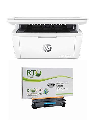 Renewable Toner LaserJet M15w Check Printer Bundle with MICR Toner Cartridge Replacement for HP CF248A 48A