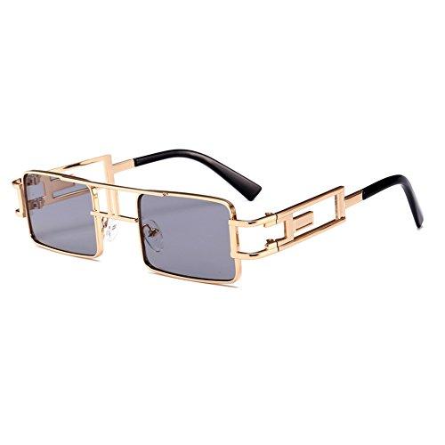 814093557fa25 Steampunk Rectangular Sunglasses Men Gold Black Red Flat Top Square Sun  Glasses