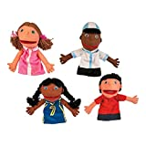 Plush Hand Puppets, Happy Kids, Set of 4 Puppets (14')
