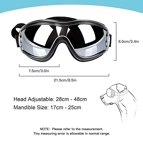 PEDOMUS Dog Sunglasses Dog Goggles Adjustable Strap for Travel Skiing and Anti-Fog Dog Snow Goggles Pet Goggles for Medium to Large Dog 5