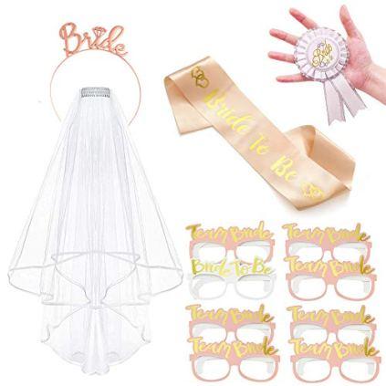 Vibury-Voile-de-marie-Accessoires-12-Pcs-EVJF-Accessoire-Bride-to-be-charpe-Diadme-de-Mariage-Lunettes-Rosette-Badge-dguisement-Enterrement-de-Vie-de-Jeune-Fille-Accessoires
