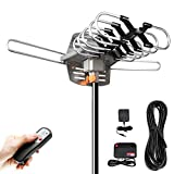 HDTV Digital Antenna -150 Miles Range w/ 360 Degree Rotation Wireless Remote - UHF/VHF/1080p/ 4K Ready(Without Pole). Upgraded 2019 Version