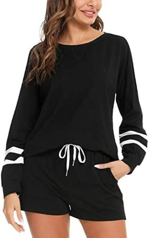 LOLLO VITA Women's Casual 2 Piece Outfit Long Sleeve Sweatsuit Set Crewneck Pullover Tops and Shorts Athletic Tracksuits