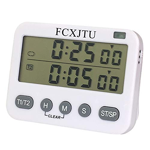 FCXJTU Digital Dual Kitchen Timer, Interval Timer, Cycle Timer, Cooking Timer, Count UP/Down Timer, Large Display, Adjustable Volume Alarm, Flashing Light with Magnetic Back, Stand, Battery Included