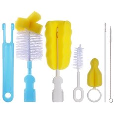 PChero 6-in-1 Baby Bottle Brushes Cleaner Set, Including 2pcs Nipple Brushes + 2pcs Straw Brushes and 2pcs Feeding Bottle Brushes – Professional Nylon Sponge Bristles Brush Cleaner
