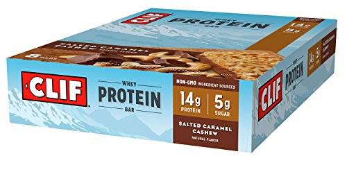 CLIF Whey Protein - Snack Bar - Salted Caramel Cashew - 1.98 Ounce Complete Protein Bar, 8 Count