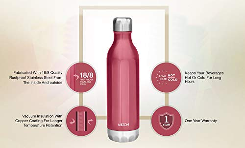 41vN%2Bex5cAL - Milton Bliss 900 Thermosteel Vaccum Insulated 24 Hours Hot & Cold Water Bottle, 820 ml, Red