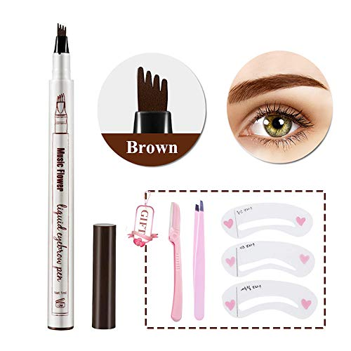 Eyebrow Tattoo Pen- Waterproof Microblading Eyebrow Pencil with a Micro-Fork Tip Applicator Creates Natural Looking Brows Effortlessly (02#Brown)