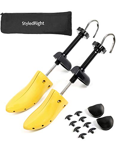 Adjustable 2-Way Shoe Stretcher Pair for Men & Women Unisex, Yellow, Size Large