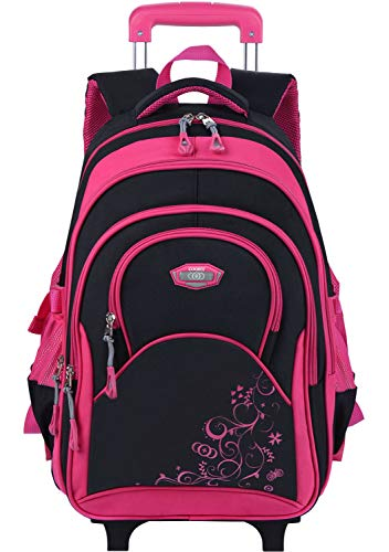 Rolling Backpack, COOFIT Rolling Backpack for Girls Wheeled Backpack Roller Backpack for Girls