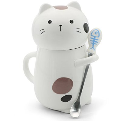 Asmwo Cute 3D Cat Mug Funny Ceramic Coffee Tea Mug with Stirring...