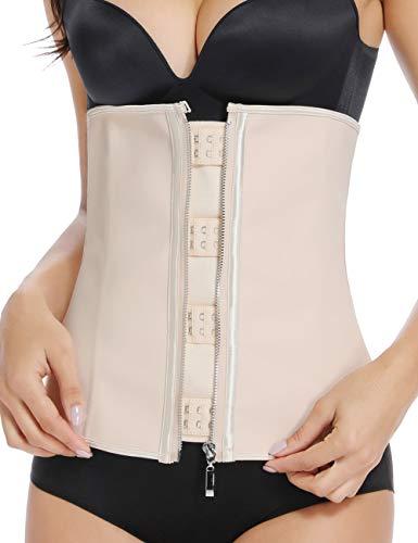MISS MOLY Latex Waist Trainer Cincher Zip&Hook Tummy Control Shapewear Women Steel Boned Corset Plus Size