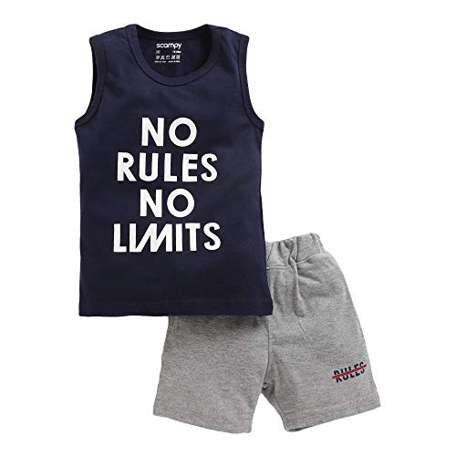 Hopscotch Baby Boys French Terry Sleeveless T-Shirt with Shorts in Navy Color