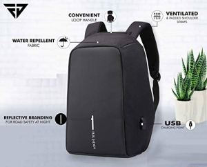 Fur Jaden Anti Theft Water Repellent 15.6 Inch Laptop Backpack Bag with USB Charging Port