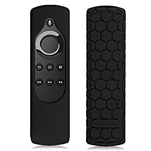 Fintie Silicone Case for All-New Fire TV 4K / 2nd Gen Fire TV Stick Voice Remote, Compatible with Amazon Echo / Echo Dot Alexa Voice Remote - Honey Comb Series [Anti Slip] Shock Proof Cover, Black