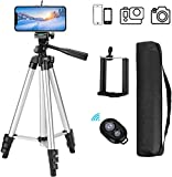 Eocean Phone Tripod, 50 inch Tripod for Cellphone, Tripod for Gopro and Camera with Wireless Remote and Universal Clip, Compatible with iPhone Xs/Xr/Xs MaX/X/8/Galaxy Note 9/S9/Google