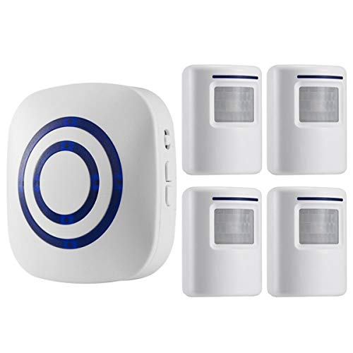 Seanme Motion Sensor Alarm, Wireless Driveway Alarm, Home Security Business Detect Alert with 4 Sensor and 1 Receiver,38 Chime Tunes - LED Indicators