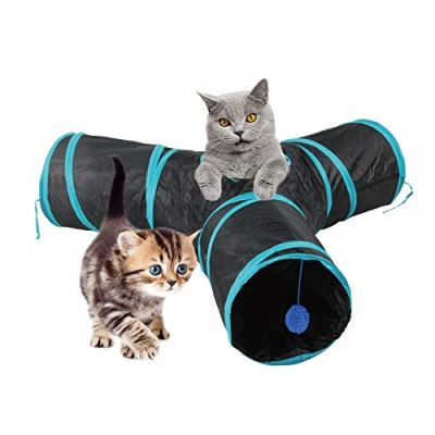 PAWISE Cat Toys Cat Tunnel and Cat Cube Pop Up Collapsible Kitten Indoor Outdoor Toys