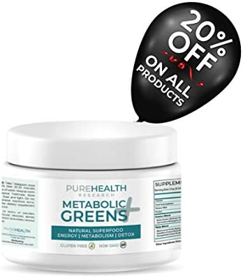 Metabolic Greens+ the Energy Magician by PureHealth Research (Non-GMO) Natural Weight Loss Supplement, Energy and Mood Booster, Metabolism Booster - Healthy Natural Digestive Blends, 3 Bottles (1) (1) 2