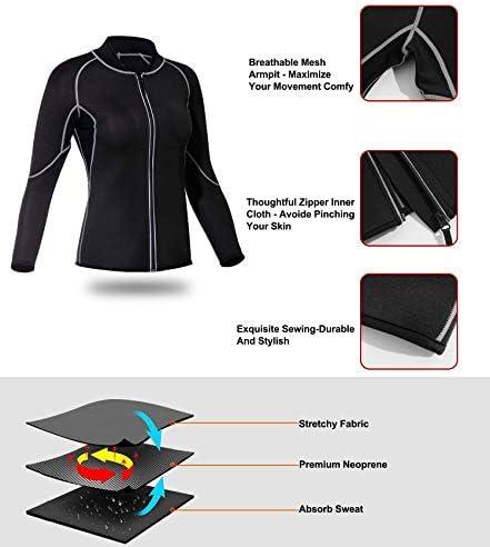 Nebility Women Waist Trainer Jacket Hot Sweat Shirt Weight Loss Sauna Suit Workout Body Shaper Neoprene Top Long Sleeve 3