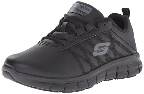 Skechers for Work Women's Sure Track Erath Athletic Lace Work Boot, Black, 9.5 M US