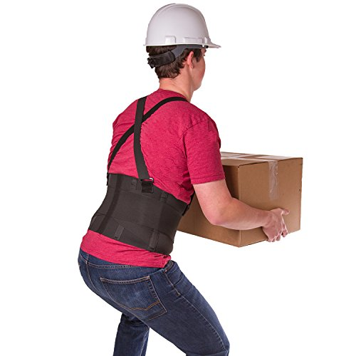 BraceAbility Industrial Work Back Brace | Removable Suspender Straps for Heavy Lifting Safety – Lower Back Pain Protection Belt for Men & Women in Construction, Moving and Warehouse Jobs