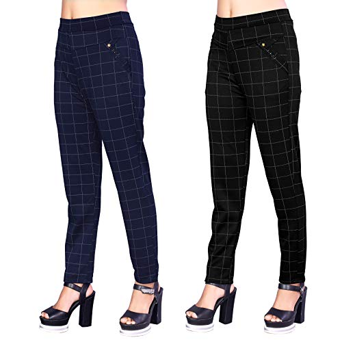 Heel & Toe Checks Printed Jeggings for Womens and Girls Formals/Casual Stretchable – 26-32 Inch Waist Black & Blue(Pack of 2)