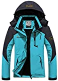 GEMYSE Women's Mountain Waterproof Ski Jacket Windproof Rain Jacket(Black,S)
